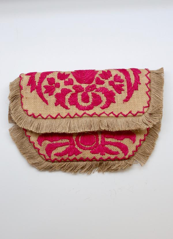 Dorothy Pink Embroidered Straw Crossbody - Caroline Hill