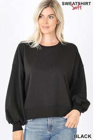 Downtown Puff Sleeve Black Pullover - Caroline Hill