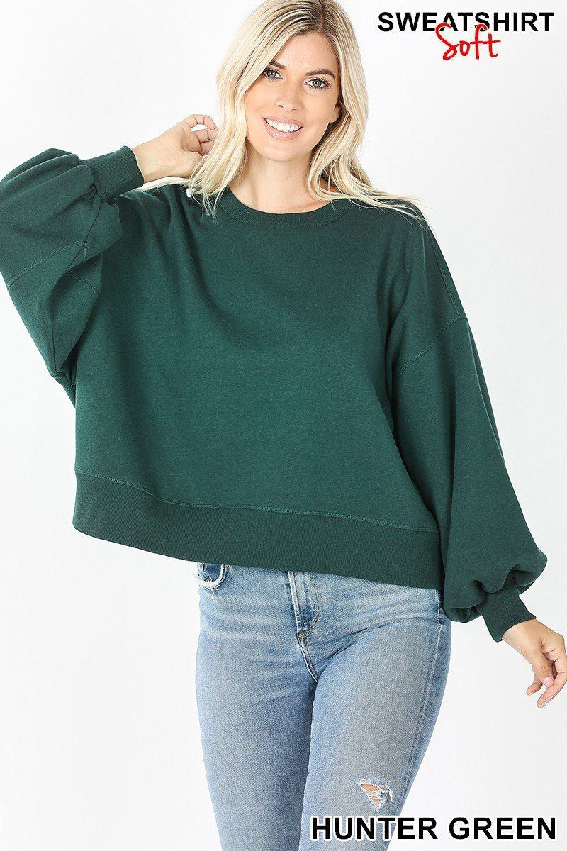 Downtown Puff Sleeve Hunter Green Pullover - Caroline Hill