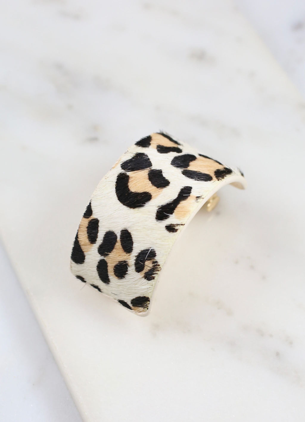 Dowry Animal Print Ponytail Hair Clip Ivory Leopard - Caroline Hill