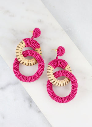 Dukes Double Ring Pink Beaded Earring - Caroline Hill