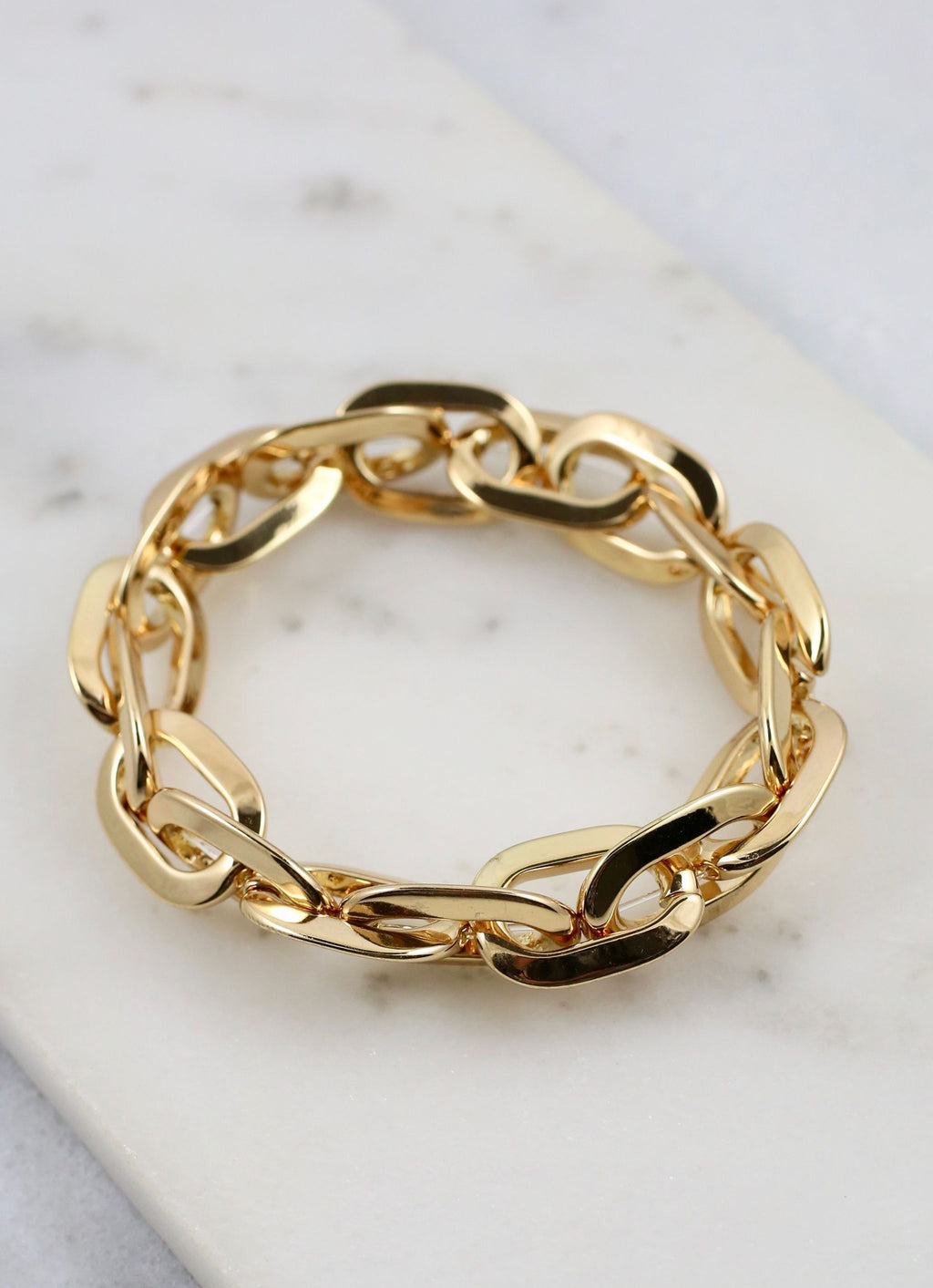 Dusti Stretchy Chain Link Bracelet Gold - Caroline Hill