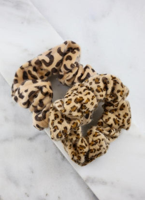 Edens Fuzzy Brown Animal Print Set Of Scrunchies - Caroline Hill