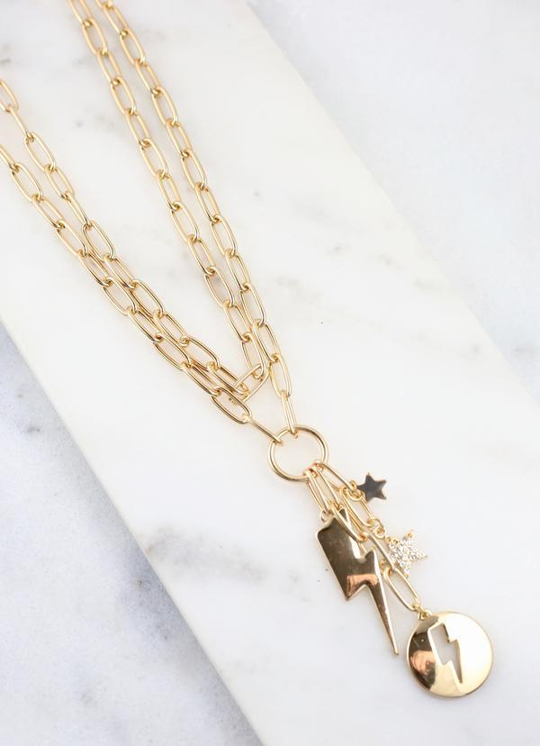 Electra Double Chain Necklace Gold - Caroline Hill