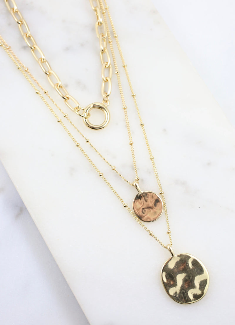 Elisabeth Layered Coin Necklace Gold - Caroline Hill