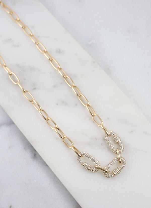 Elise Necklace With Cz Oval Accents Gold - Caroline Hill