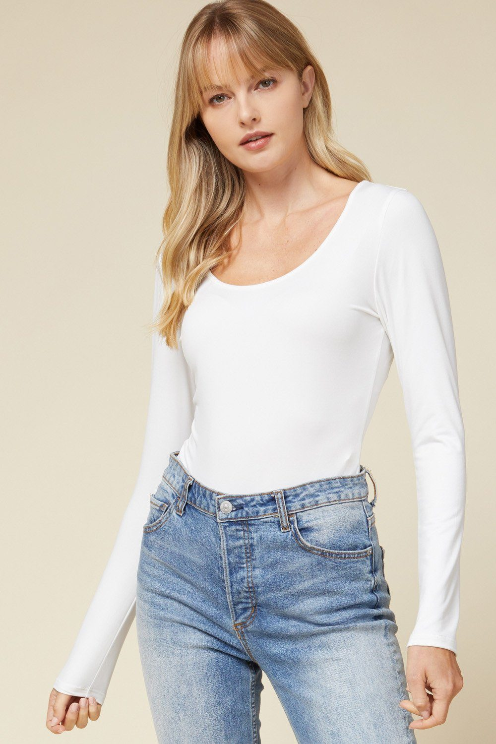 Everyday Basic Off White Bodysuit - Caroline Hill