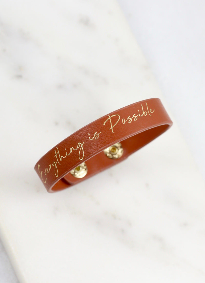 Everything Is Possible Tan Snap Bracelet - Caroline Hill