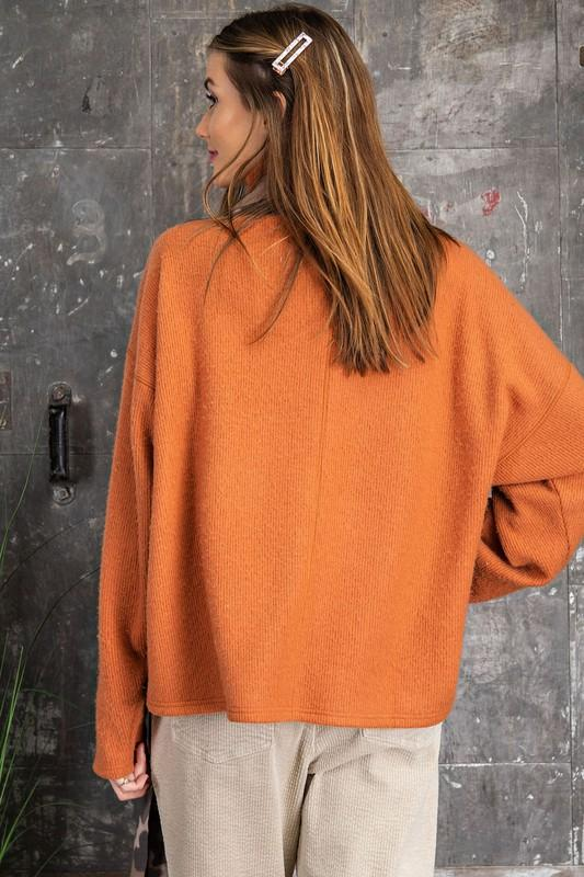 Everything Nice Burnt Orange Mock Neck top - Caroline Hill