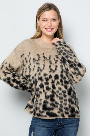 Faded Tan And Black Leopard Sweater - Caroline Hill