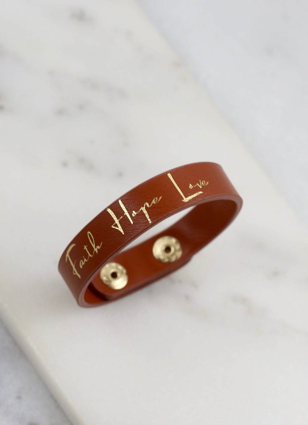 Faith Hope Love Tan Snap Bracelet - Caroline Hill