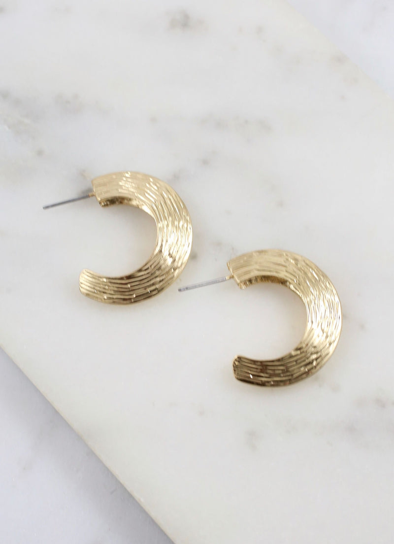 Faizon Gold Textured Hoop - Caroline Hill