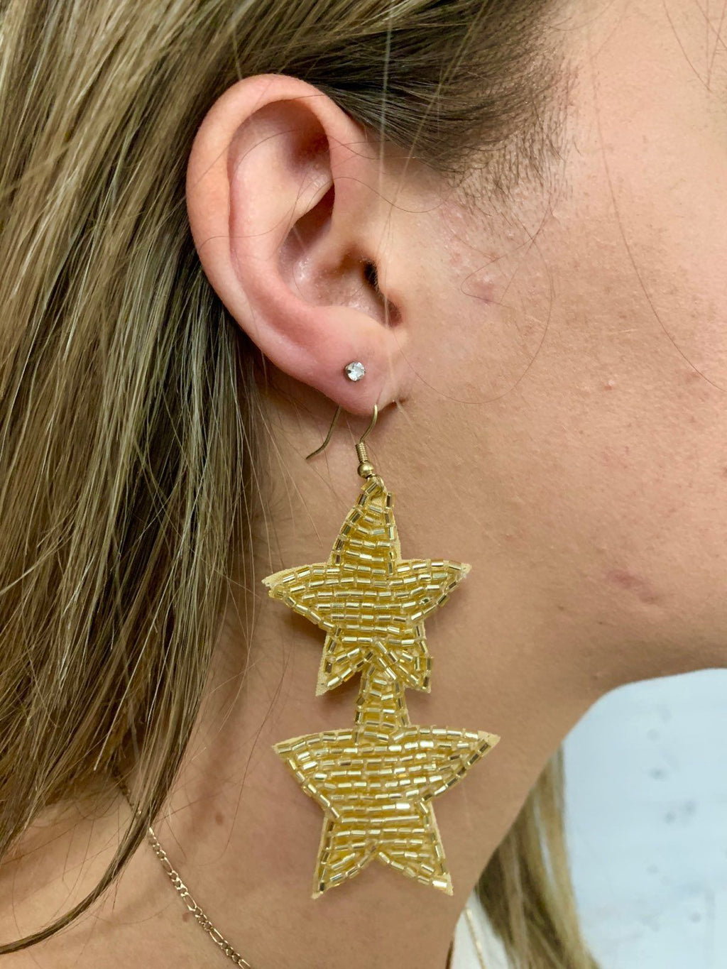 Farley Gold Star Drop Earring - Caroline Hill