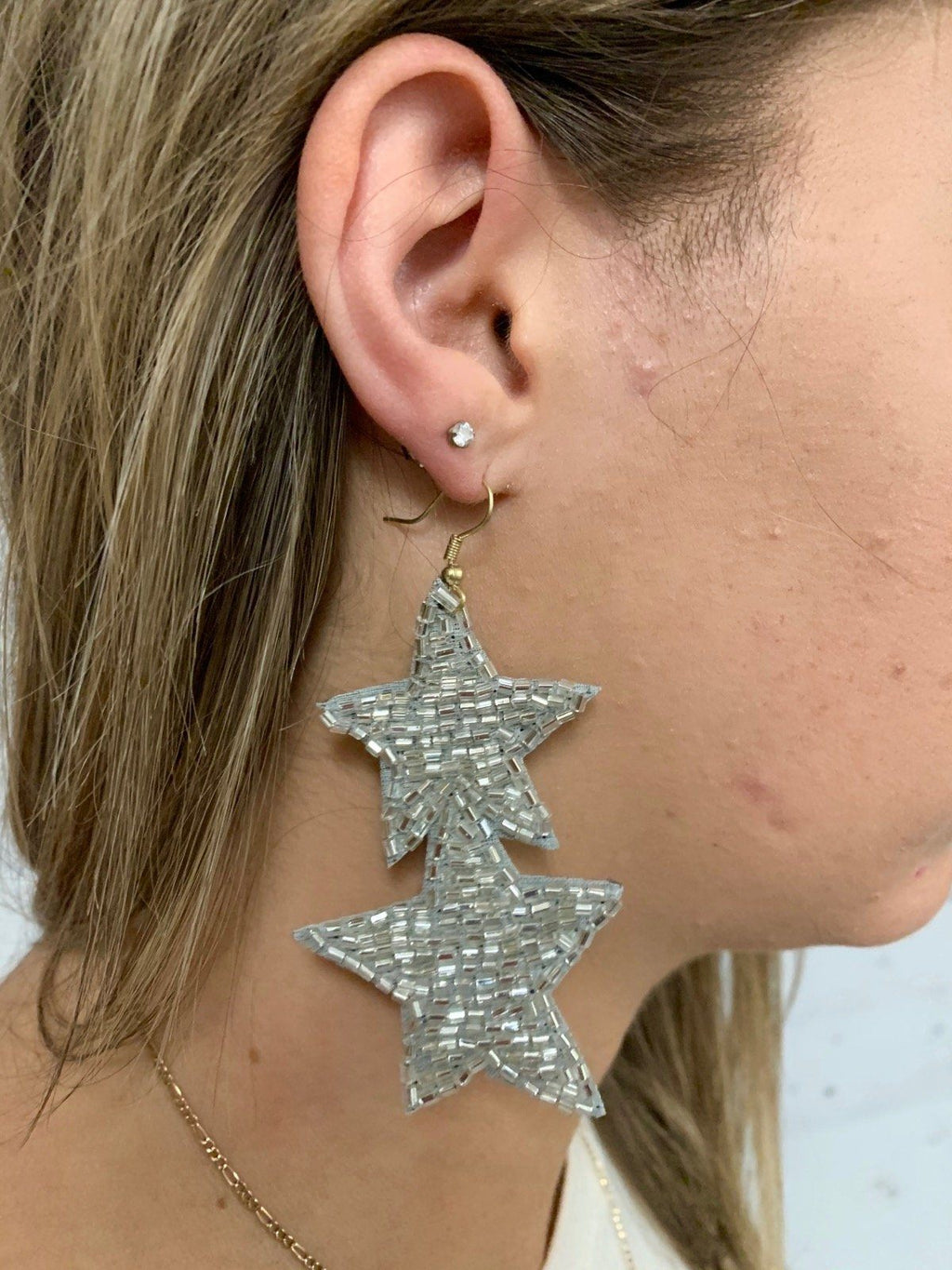 Farley Silver Star Drop Earring - Caroline Hill