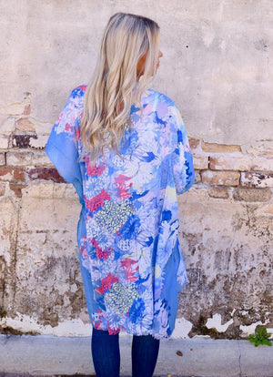 Fielding Floral Kimono With Solid Edge Blue - Caroline Hill