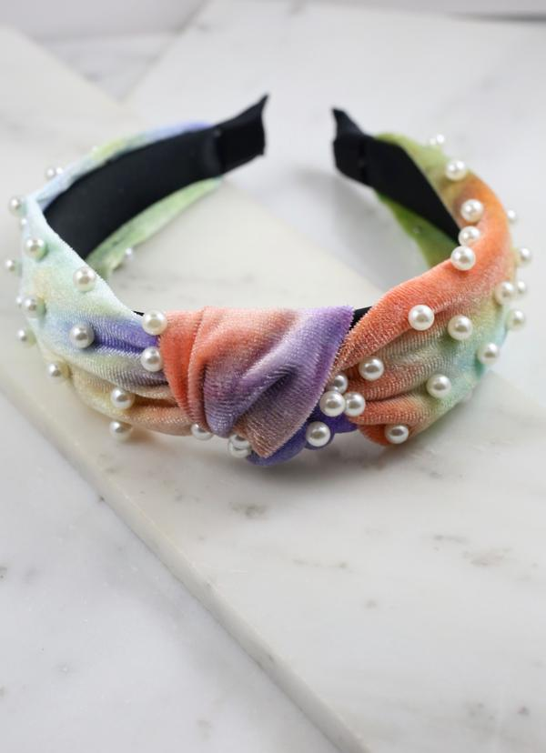 Figalo Tie-Dye Headband With Pearl Accents Multi - Caroline Hill