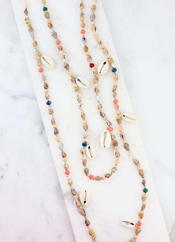 Fillyaw Layered Shell Beaded Necklace - Caroline Hill