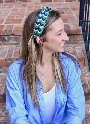Firenze Green Flamestitched Headband - Caroline Hill