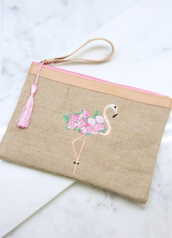 Flamingo Embroidered Jute Pouch Tan - Caroline Hill
