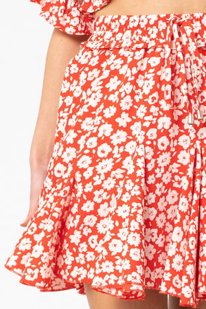 Flirty And Thriving Red Floral Skirt - Caroline Hill
