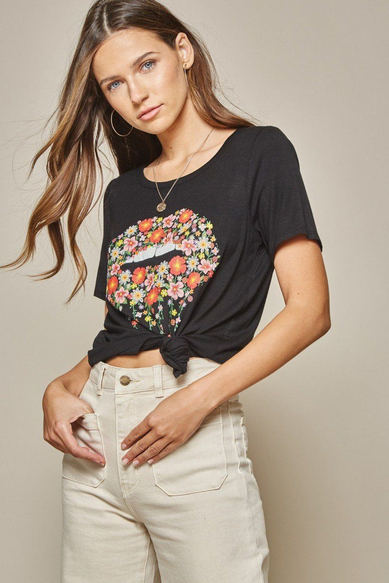 Floral Lips Black Graphic Tee - Caroline Hill