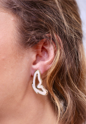 Flying Solo White Opal Winged Earring - Caroline Hill