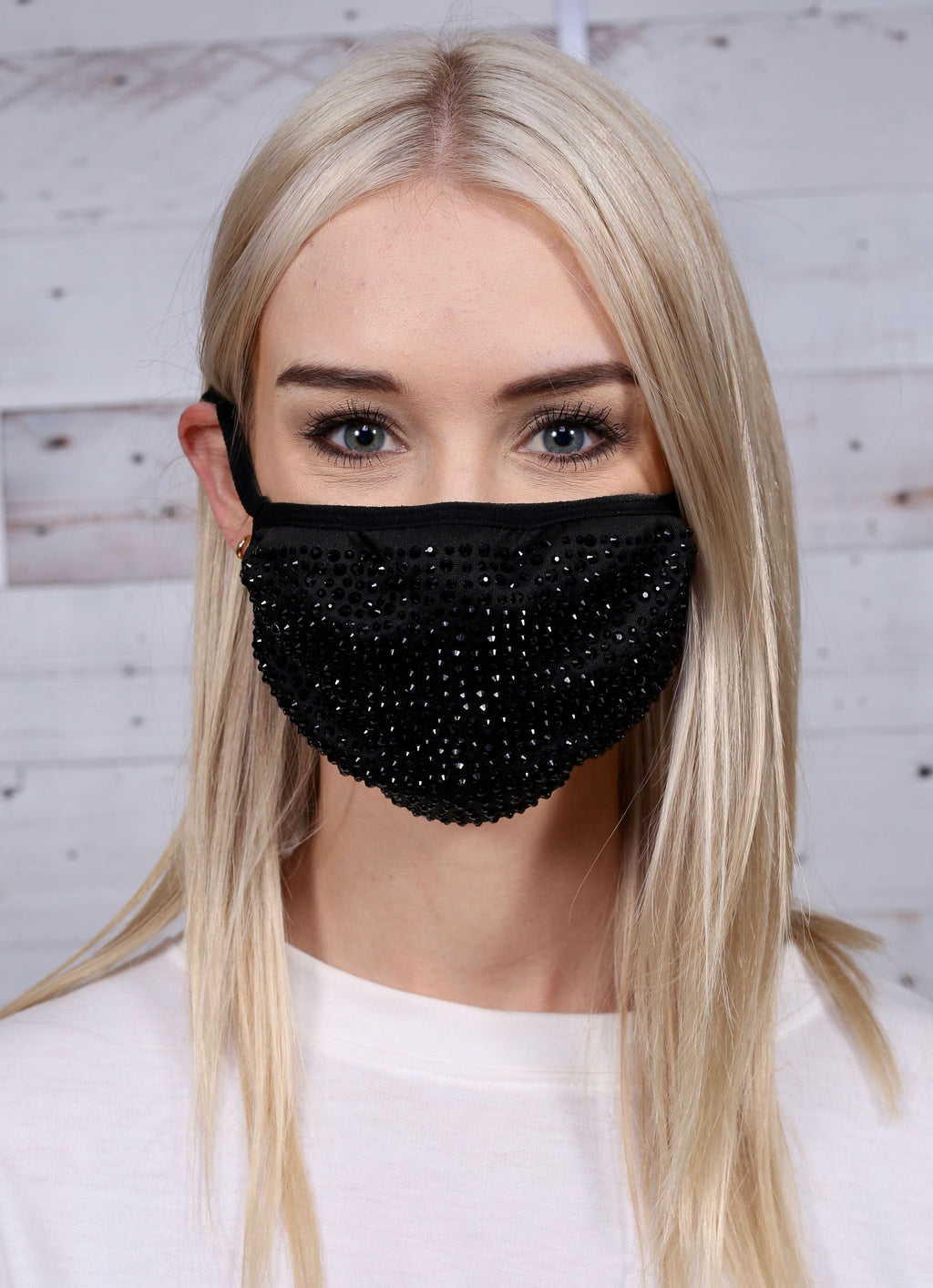 Fogler Jeweled Face Mask Black - Caroline Hill