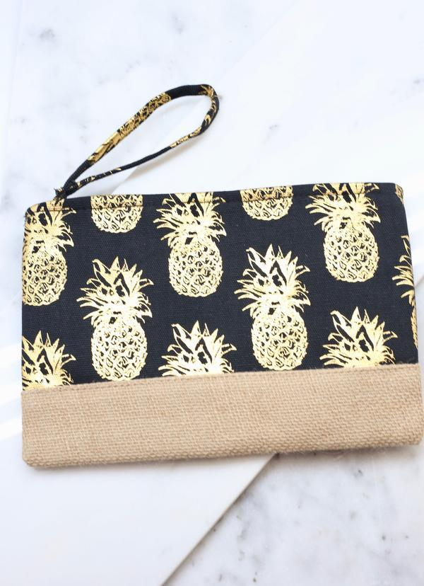 Foil Black Pineapple Pouch - Caroline Hill