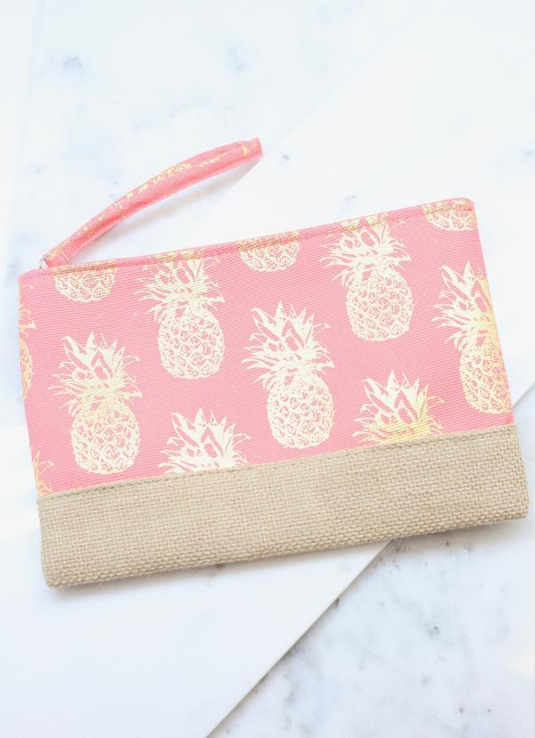 Foil Coral Pineapple Pouch - Caroline Hill