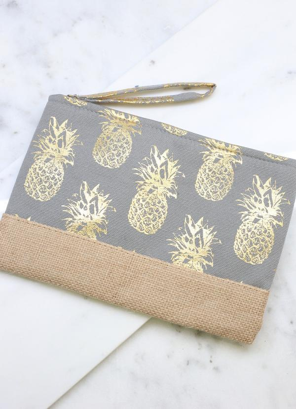 Foil Gray Pineapple Pouch - Caroline Hill