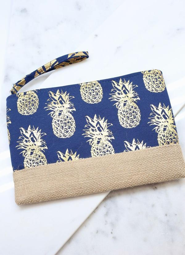 Foil Navy Pineapple Pouch - Caroline Hill