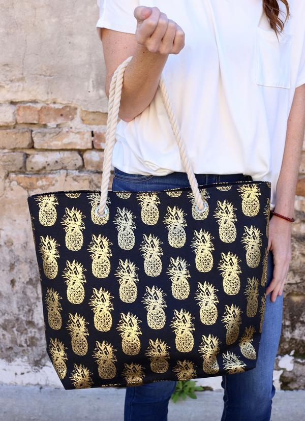 Foil Pineapple Tote Bag With Rope Handles Black - Caroline Hill