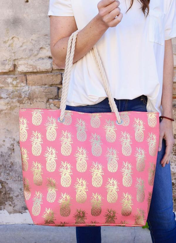 Foil Pineapple Tote Bag With Rope Handles Coral - Caroline Hill