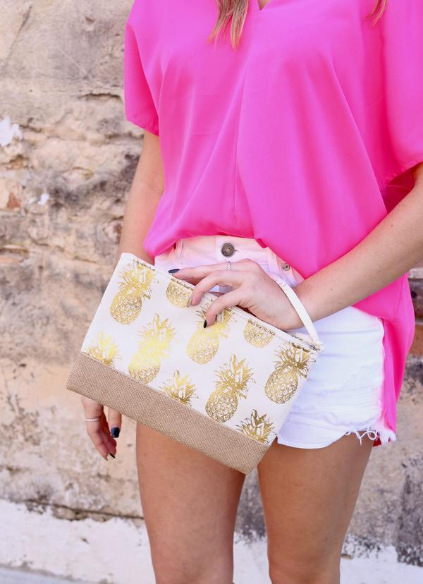 Foil White Pineapple Pouch - Caroline Hill