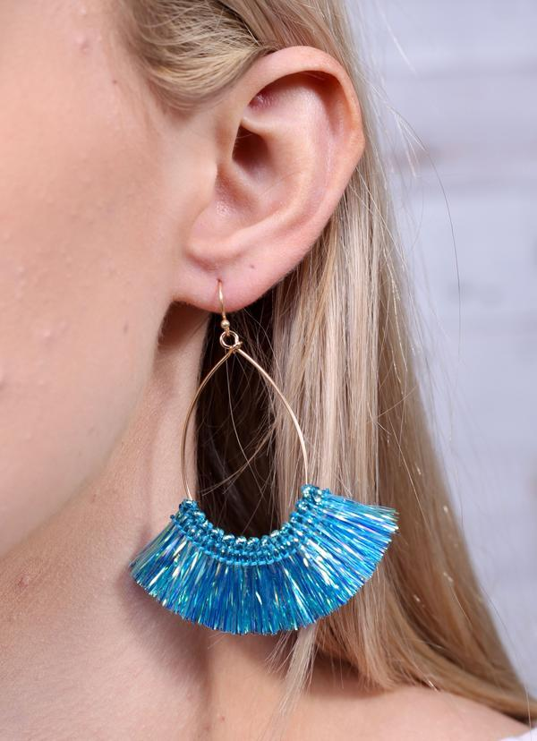 Francisco Iridescent Tassel Earring Blue - Caroline Hill