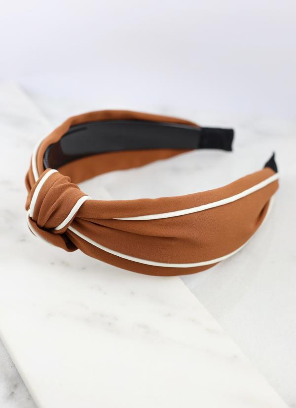 Franks Knotted Two Tone Headband Camel - Caroline Hill