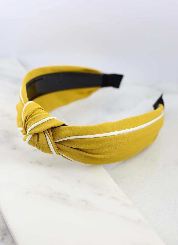 Franks Knotted Two Tone Headband Mustard - Caroline Hill