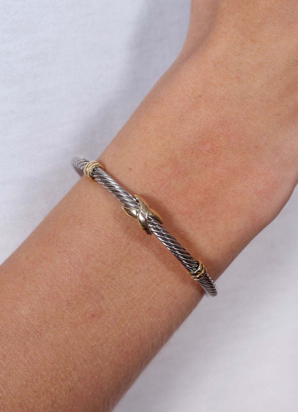 Frederick Two Tone Cable Bracelet Silver - Caroline Hill