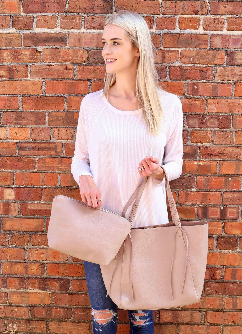 Freeman Tote With Bonus Bag Taupe - Caroline Hill