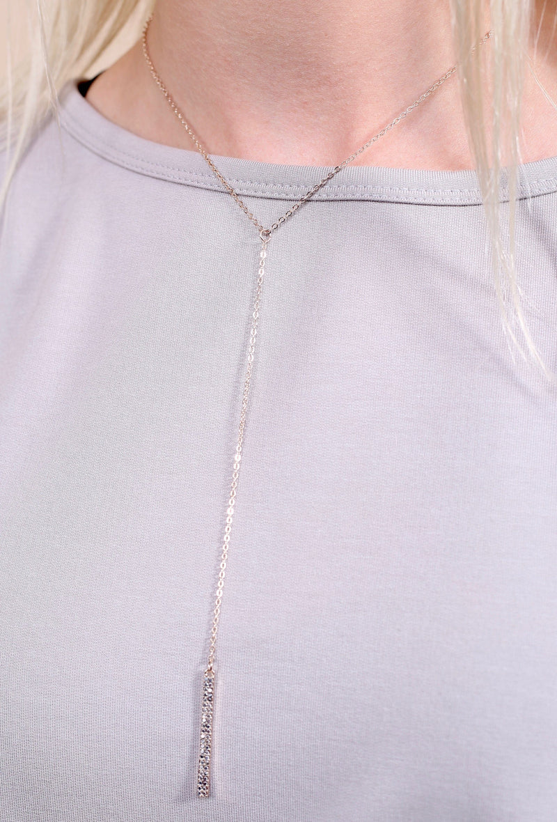Fremont Rose Gold Bar Y Drop Necklace - Caroline Hill