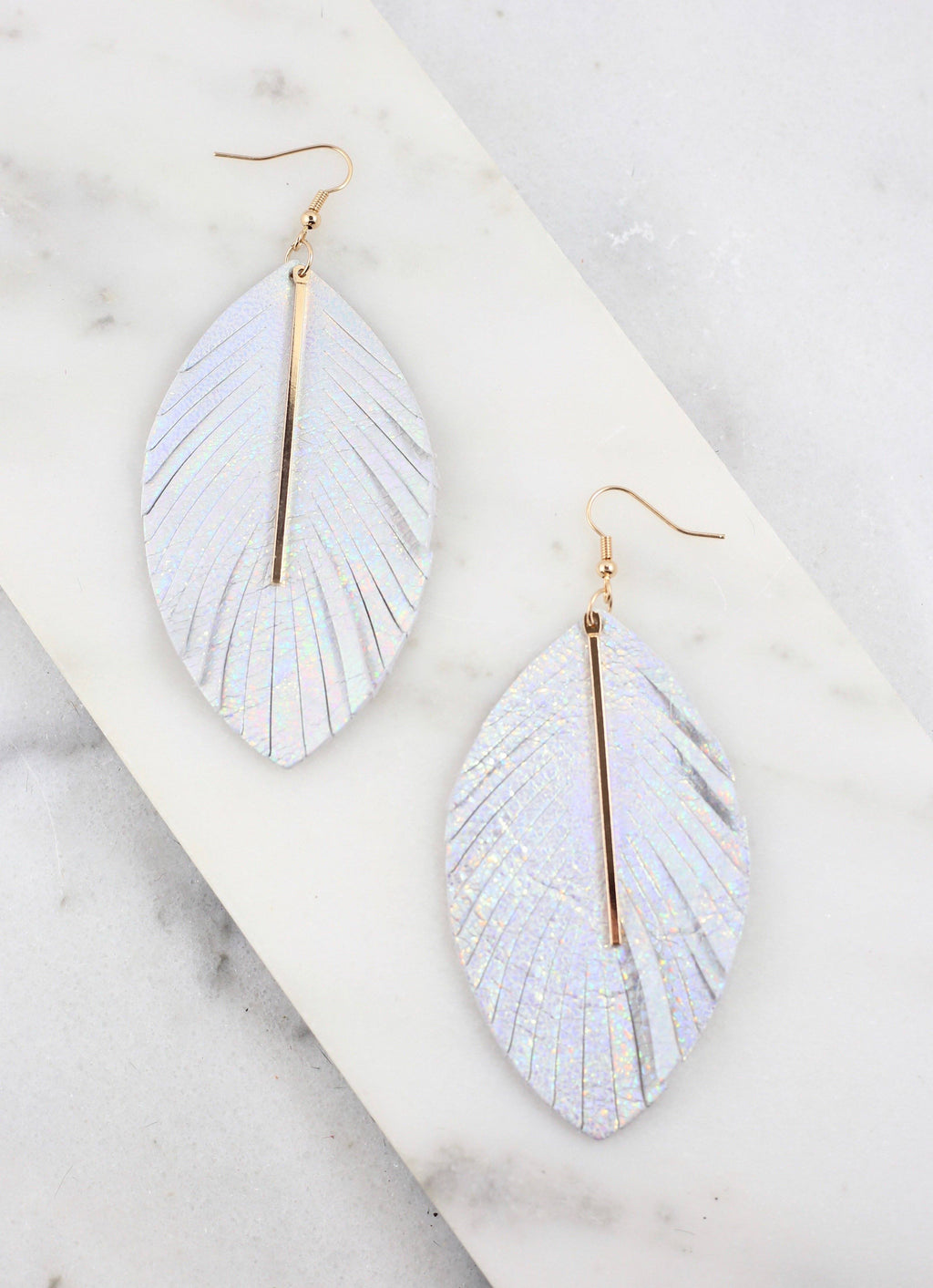 Frida Hologram Feather Earring With Accent Bar - Caroline Hill