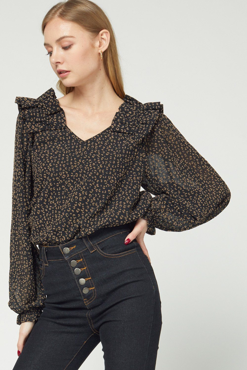 Frill and Leopard Top Black - Caroline Hill
