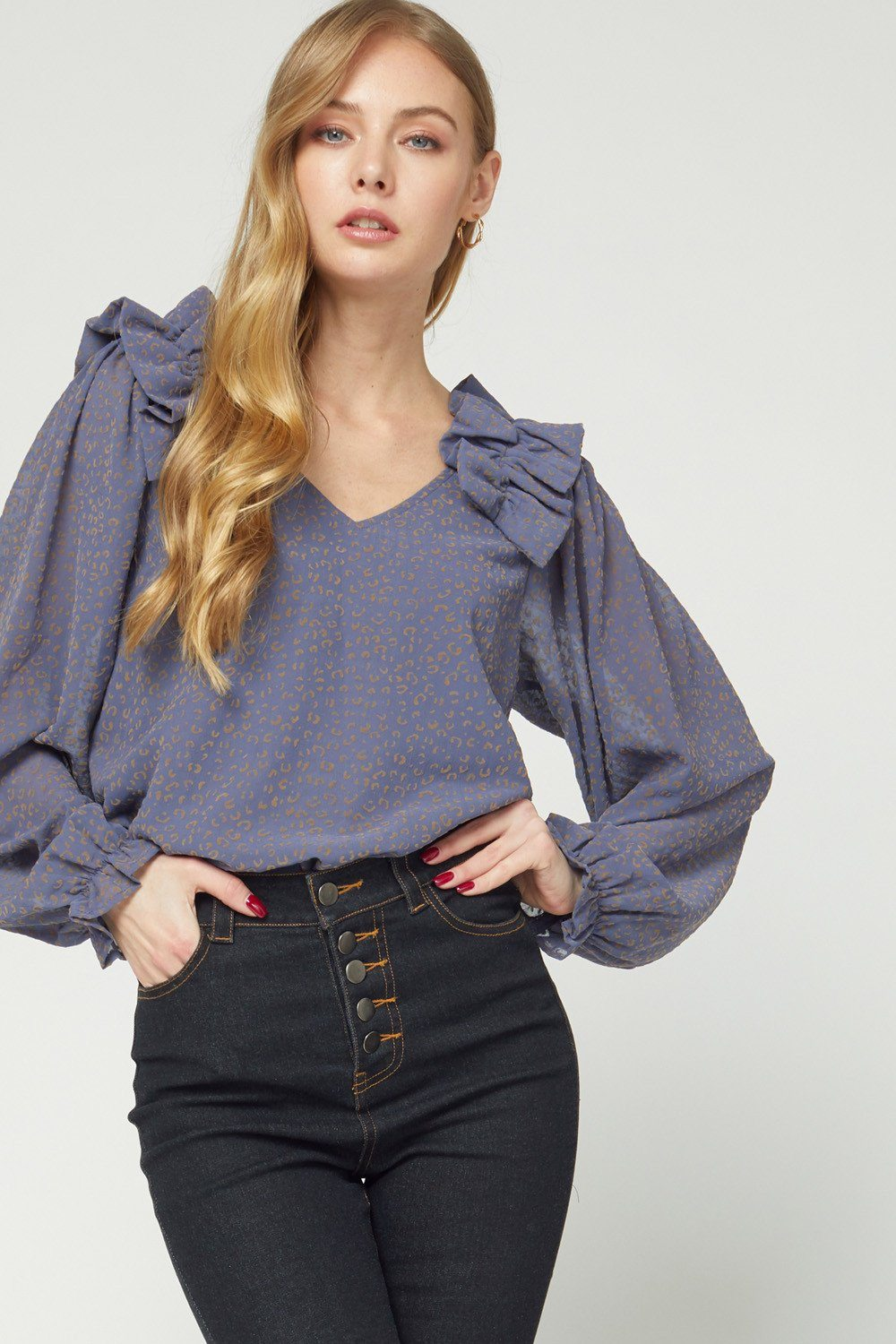 Frill and Leopard Top Slate Gray - Caroline Hill