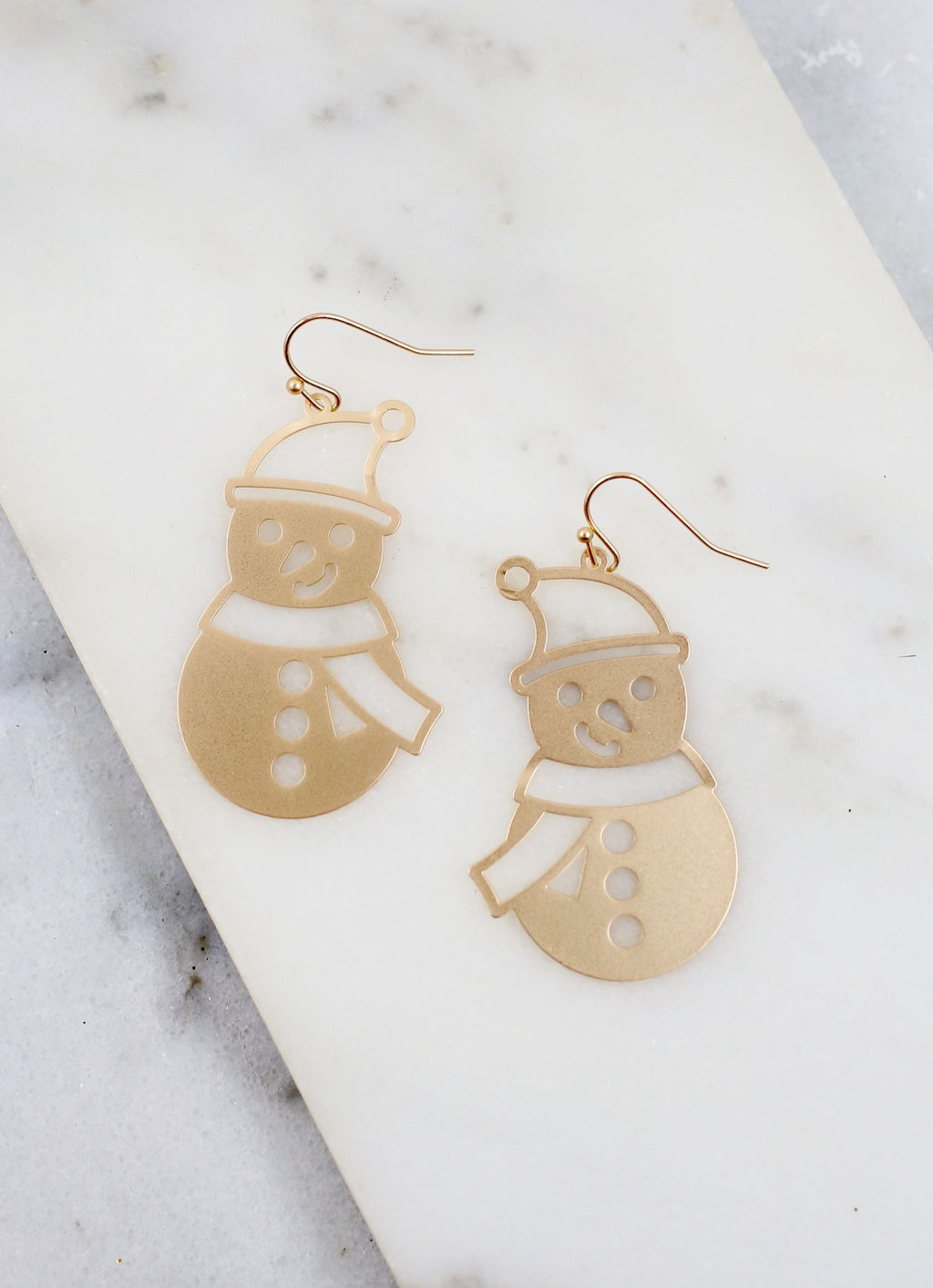 Frosty Metal Snowman Earring Gold - Caroline Hill