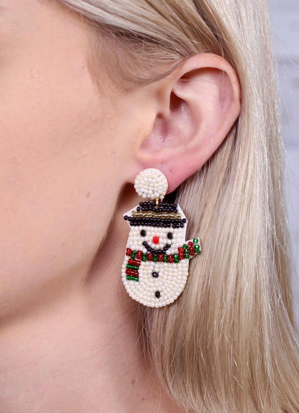 Frosty The Snowman Beaded Earring White - Caroline Hill