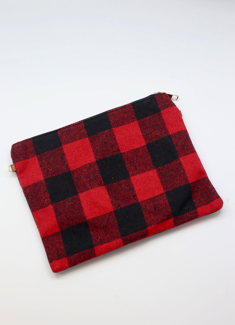 Gabrielle Plaid Crossbody/Wristlet Red - Caroline Hill