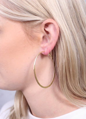 Gadsden Hammered Gold Metal Hoops - Caroline Hill