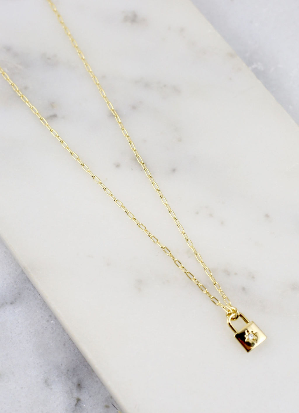 Galvin Cz Lock Necklace Gold - Caroline Hill