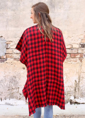 Gameday Buffalo Plaid Kimono Red-Black - Caroline Hill