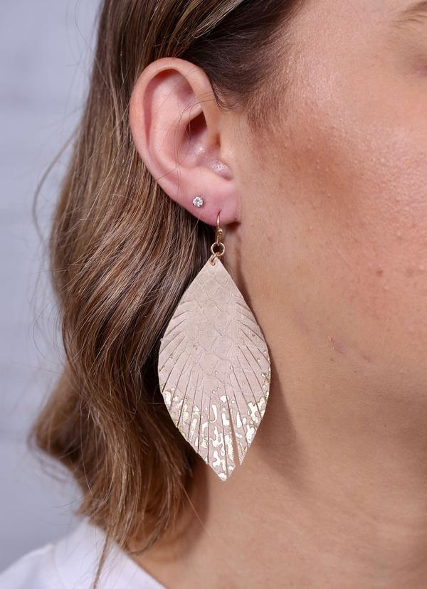 Gamson Ivory Gold Dipped Feather Earring - Caroline Hill